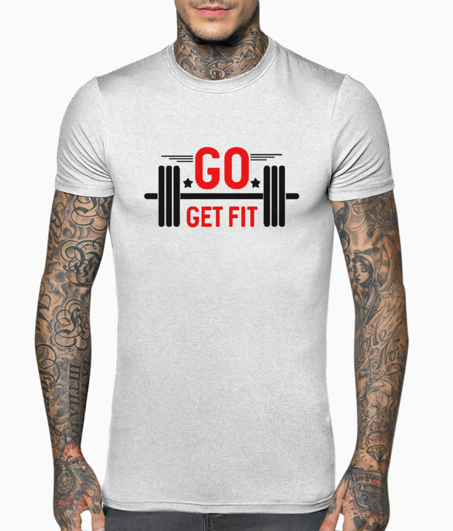 Go get fit typography t shirt front