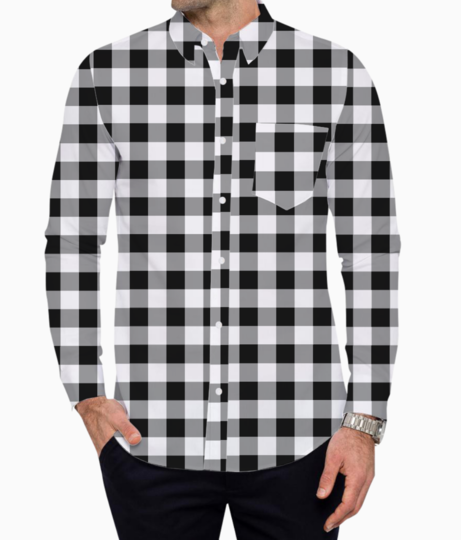 Check mate %28black%29 basic shirt front