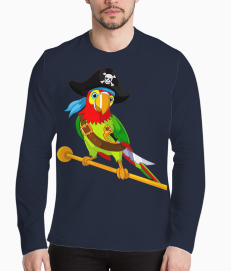 Pirate parrot henley front
