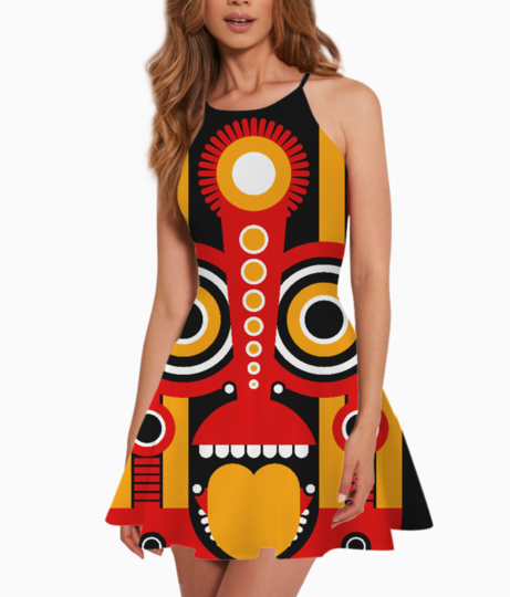Tiki mask summer dress front