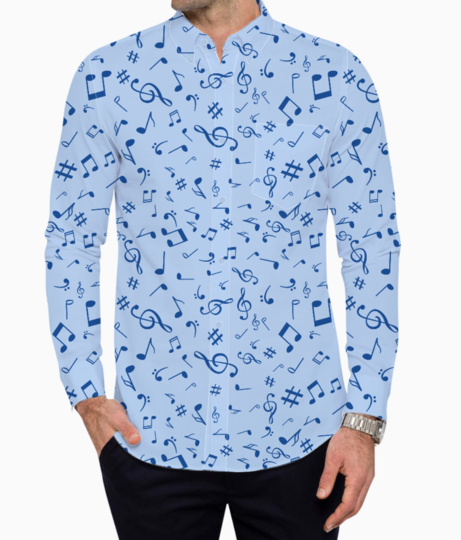 Blue music notes basic shirt front