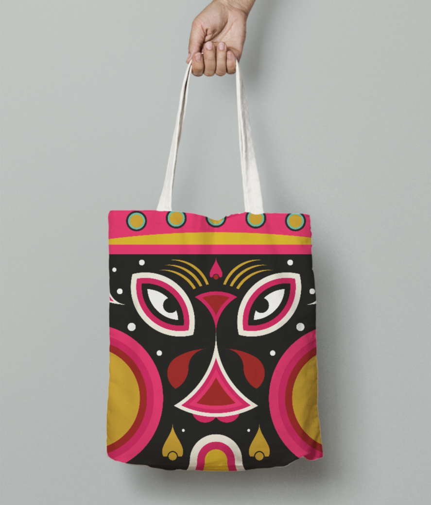 Ceremonial tribal mask tote bag front