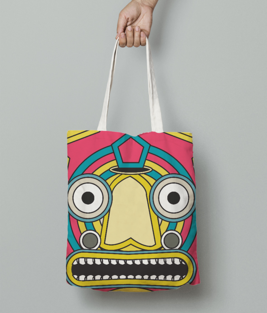 Indian tribal mask tote bag front