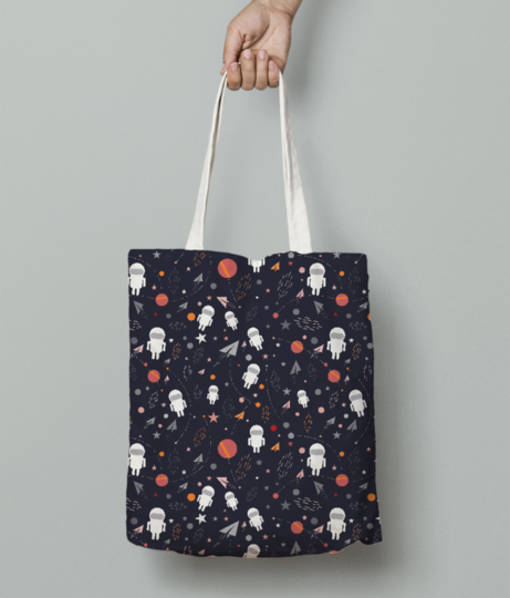 Cartoon astronaut pattern tote bag front