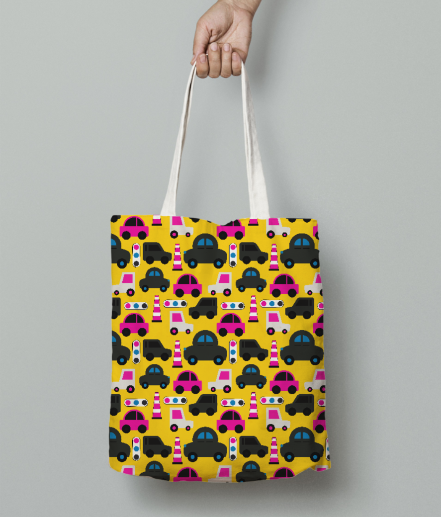 Toy cars yellow tote bag front