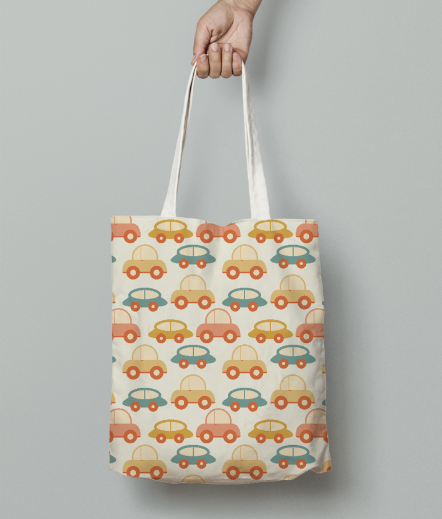Seamless retro cars tote bag front