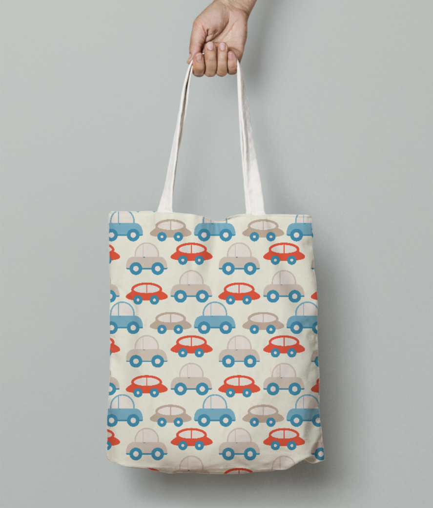 Retro cars pattern tote bag front