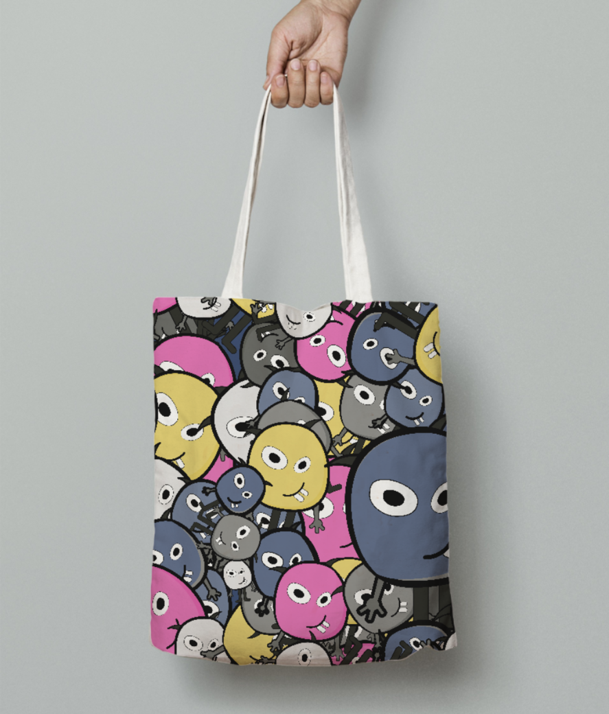 Pink doodle monsters tote bag front