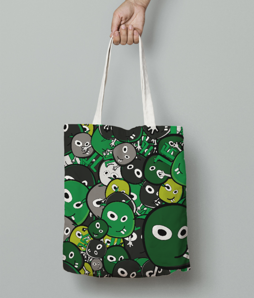 Green doodle monsters tote bag front