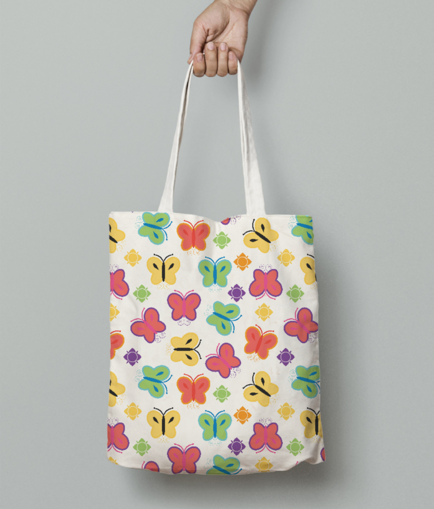 Rainbow colours  butterfly tote bag front