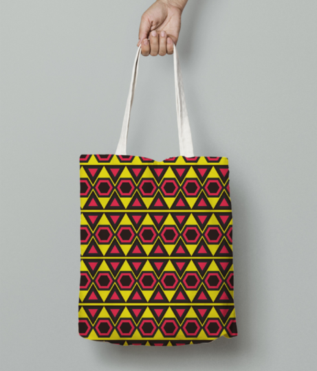 Yellow hawaiian triangle tote bag front