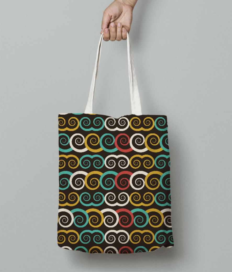 Curl swirl tote bag front