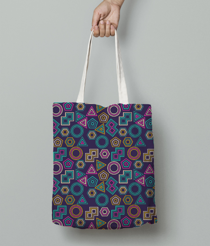 Abstract tribal pattern tote bag front