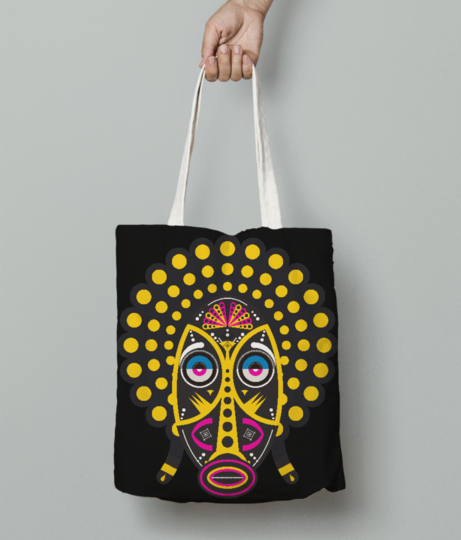 Yellow pop up tribal mask tote bag front