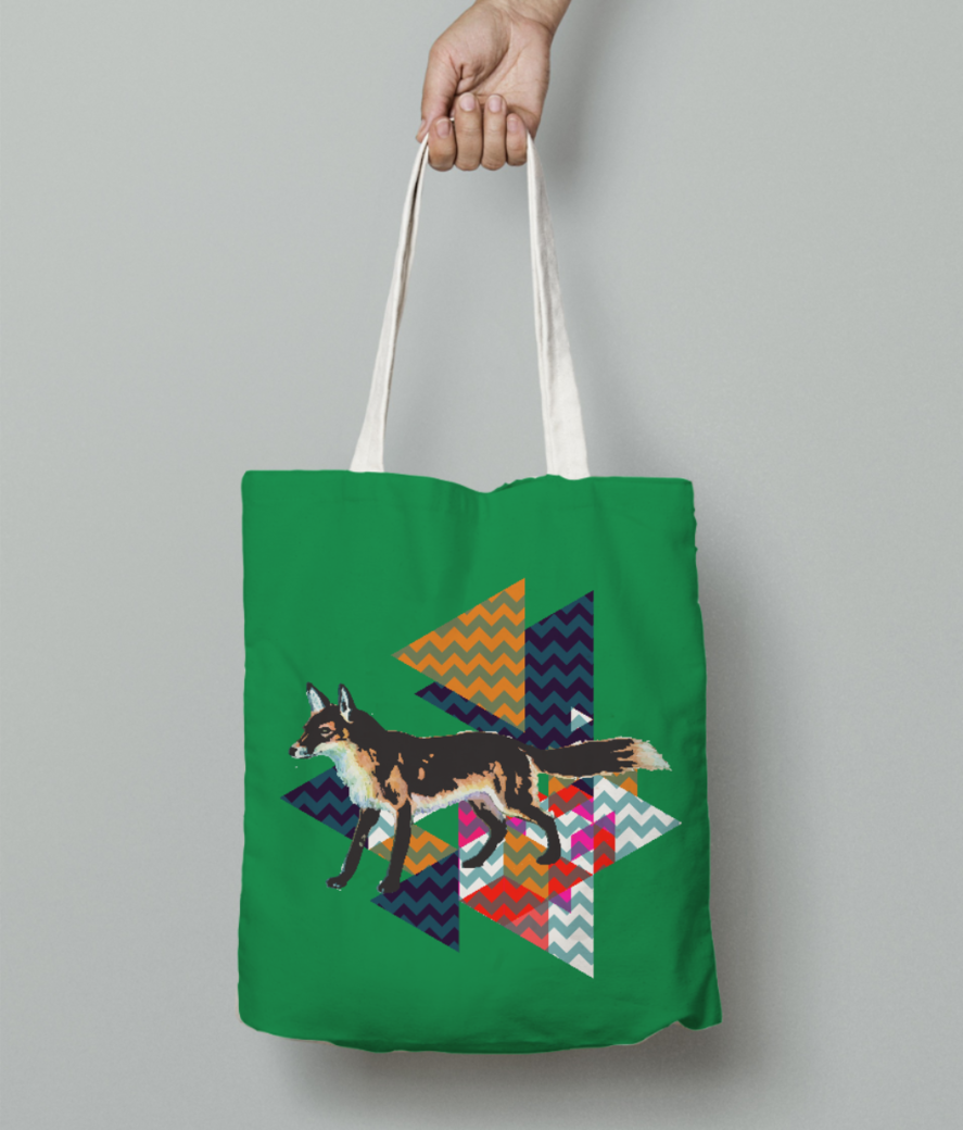 Fox2 tee tote bag front