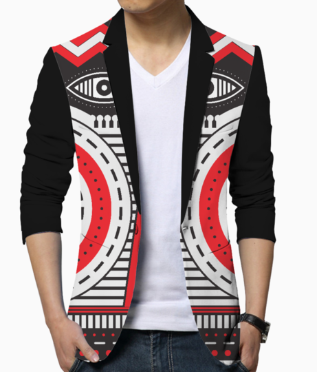 Red illuminati tribal blazer front