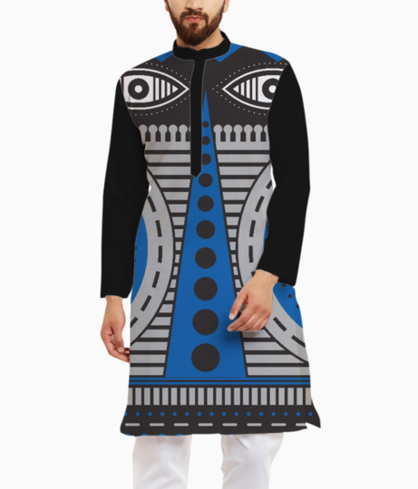 Blue illuminati tribal kurta front