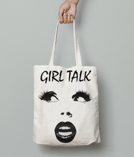 Girl talk tote bag front