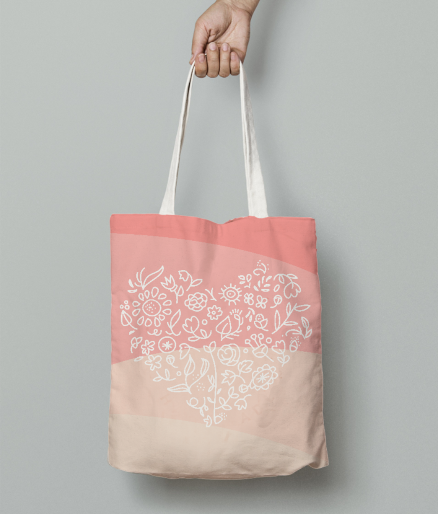 Floral heart tote bag front