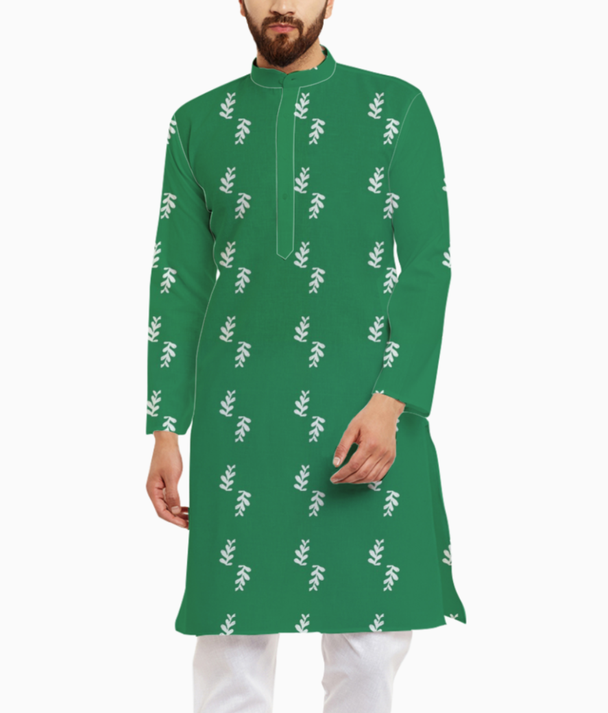 Green leaf kurta front