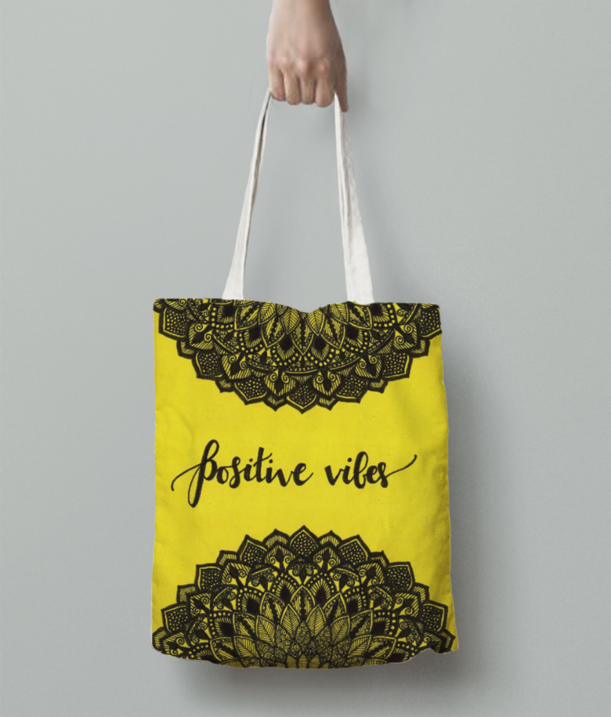 Positive vibes tote bag back