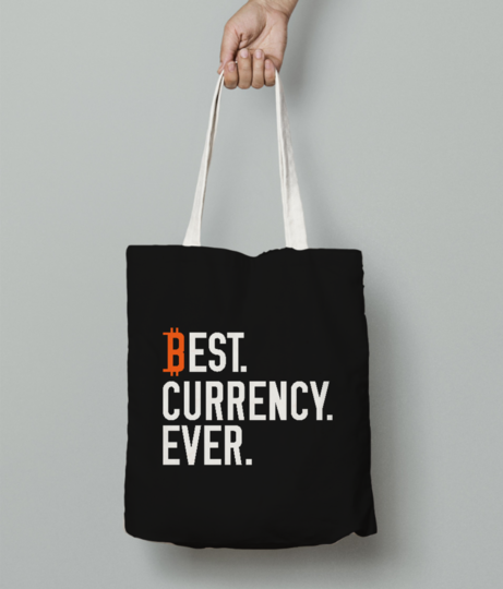 Bitcoin currency tote bag front