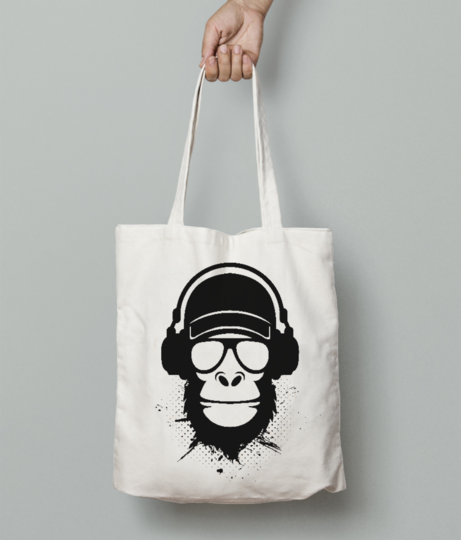 Cool dude monkey tote bag front