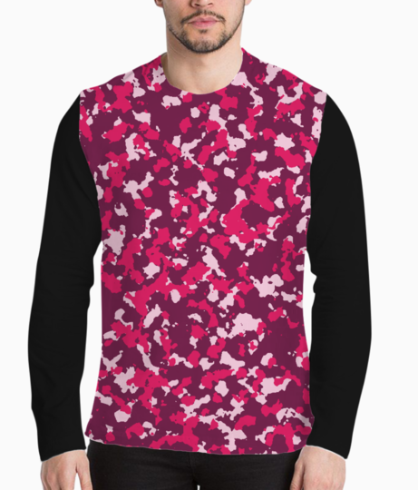 Abstract pink camo henley front