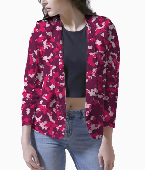 Abstract pink camo blazer front