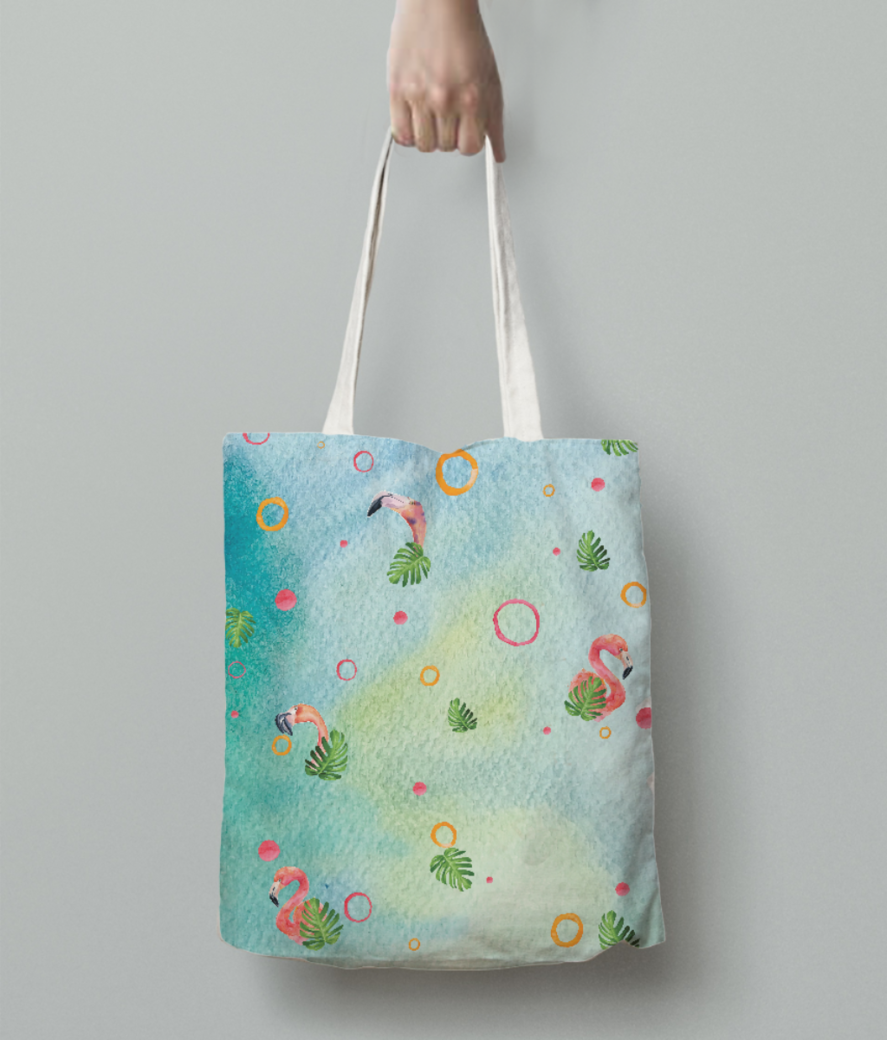 Flamingo party 2 tote bag back