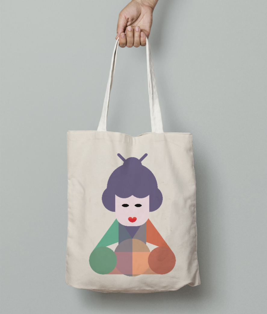 Chinese beauty tote bag front