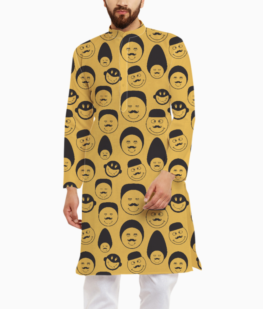 Yellow emotion faces kurta front