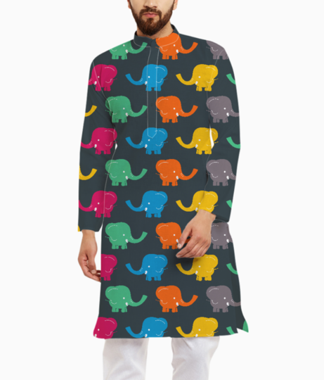 Colourful elephants kurta front