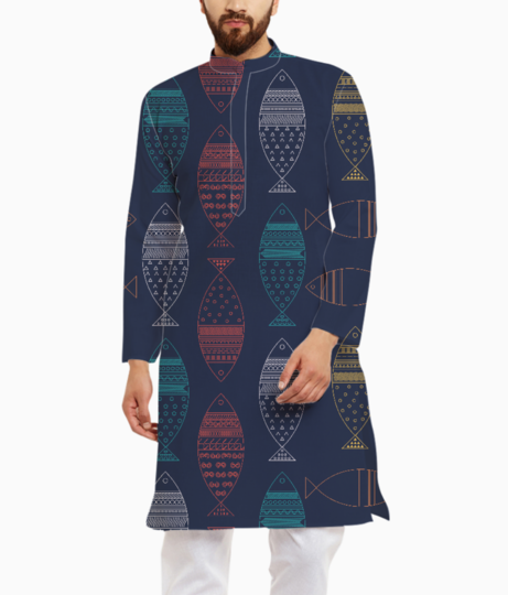 Colorful fish kurta front