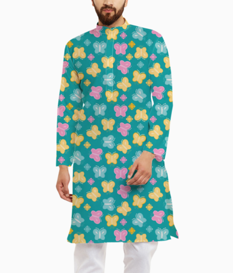 Colorful butterfly kurta front