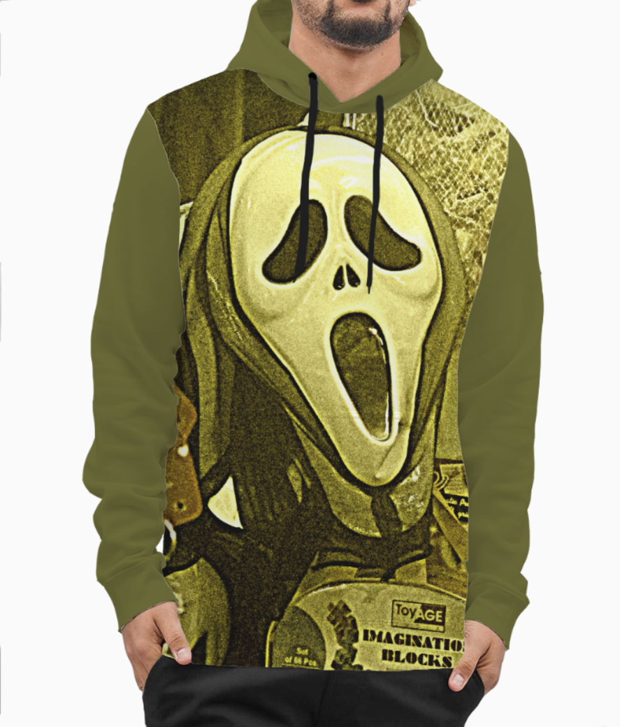 The masks in the melas hoodie front