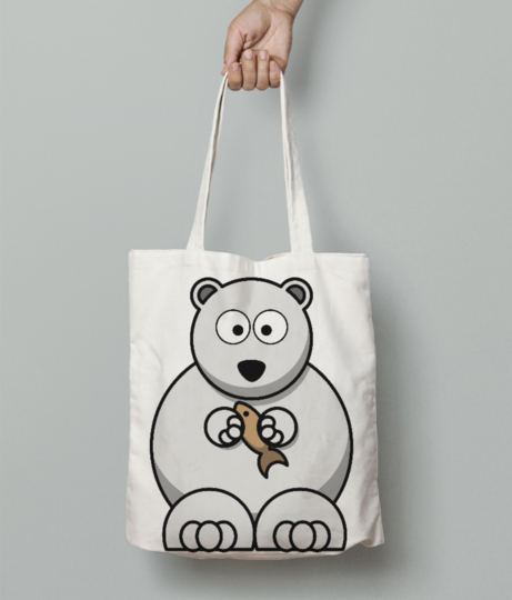 White bear cousin tote bag front