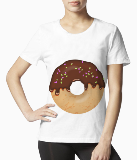 Chocolate sprinkles donut vector illustration 800x566 tee front