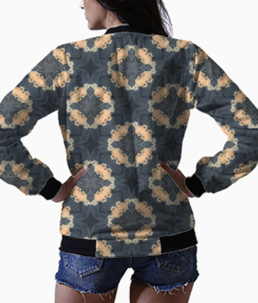 Denim distress bomber back
