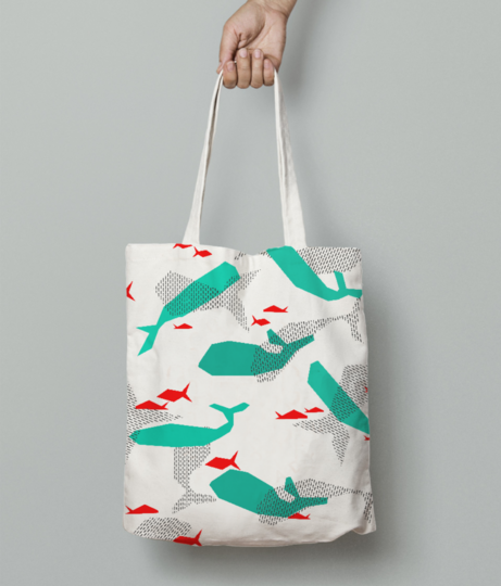 L abstract fish tote bag front