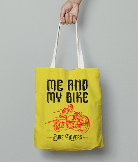 Me and my bike tote bag front