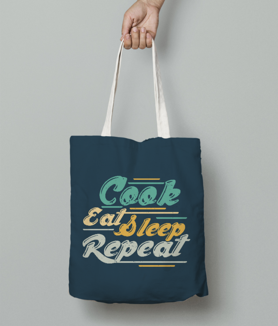 Cook eat sleep repeat tote bag front