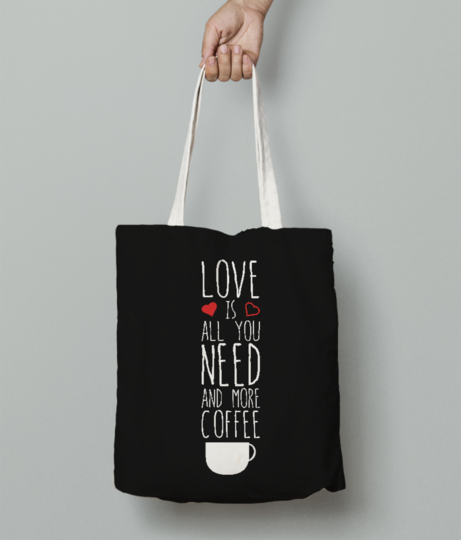 Love need coffee tote bag front