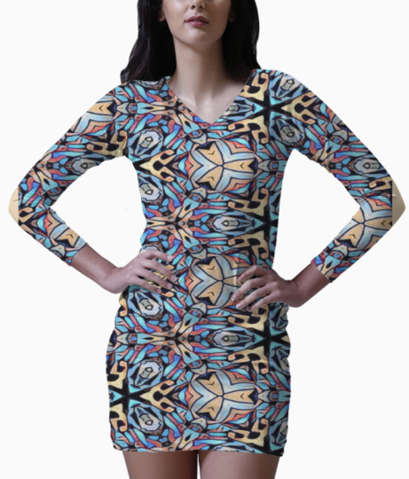 Colorful mosaic bodycon dress front