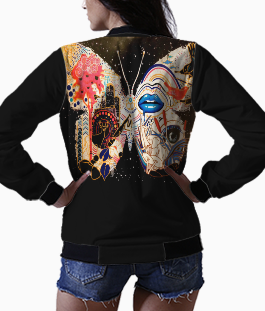 Abstract butterfly bomber back