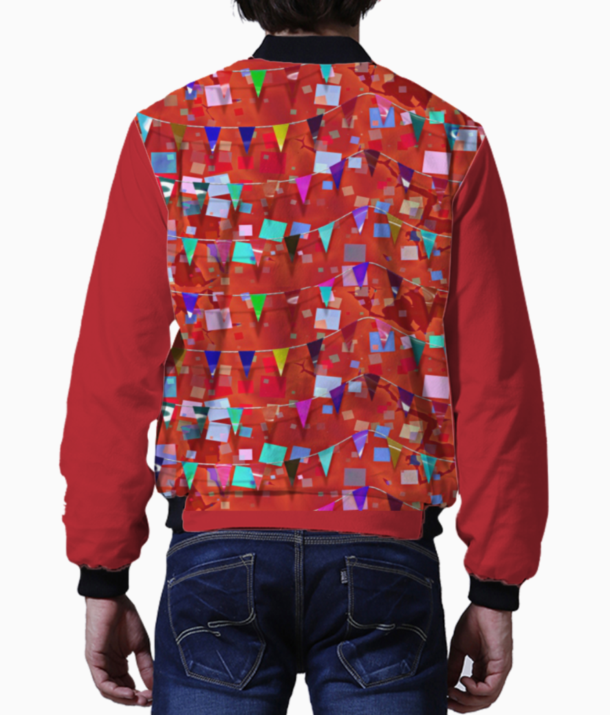 Pattern red confetti bomber back