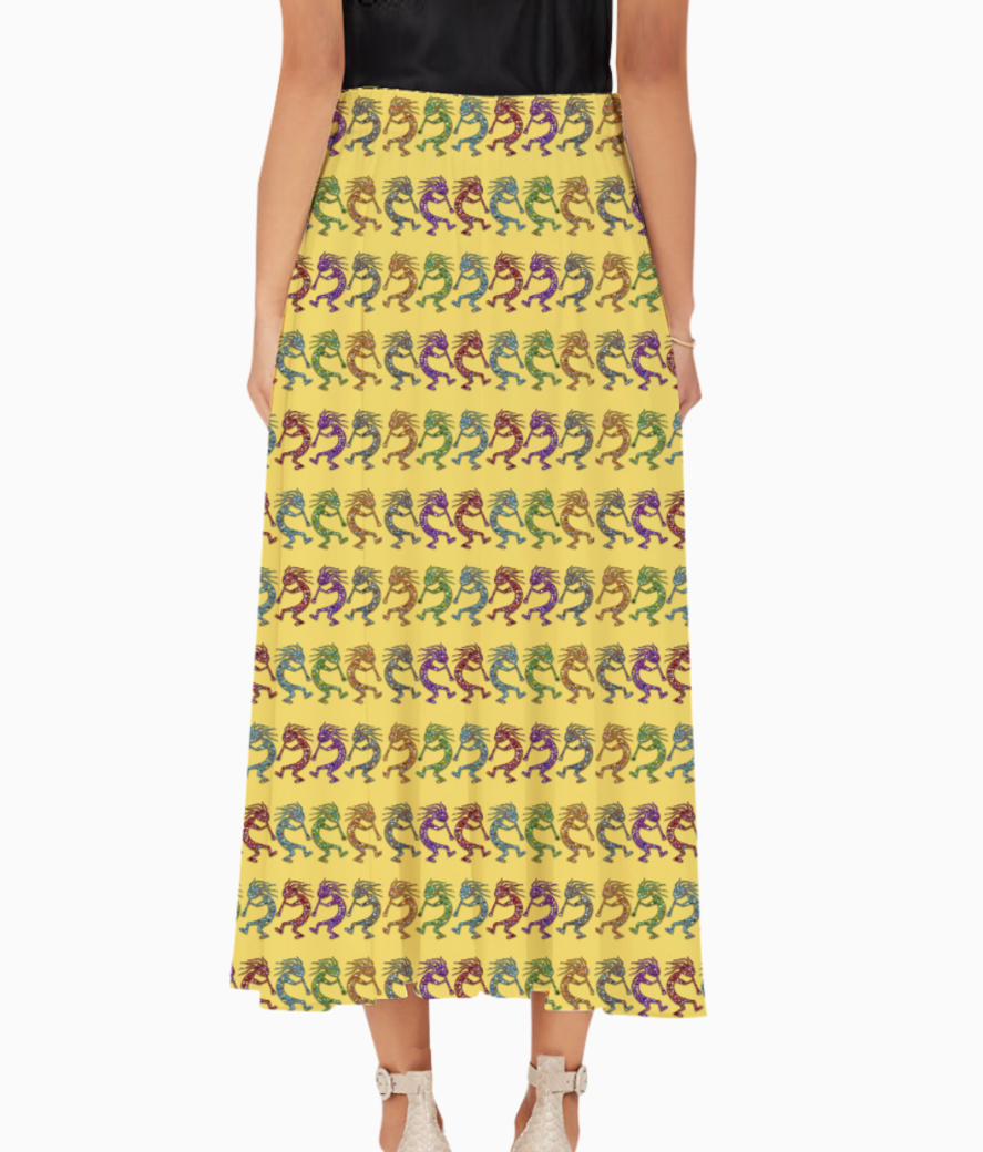 Kokopelli pattern long skirt back