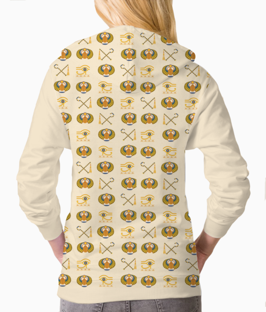 Pattern egyptian symbols sweatshirt back