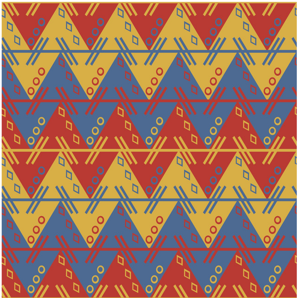 Aztec blue red pattern