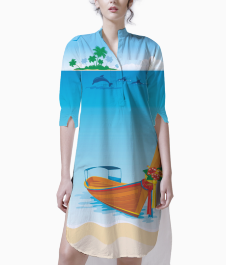 Tropical beach2 kurti front